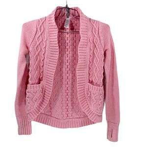 Lululemon Ivivva Pink Knit Cardigan Sweater Cables